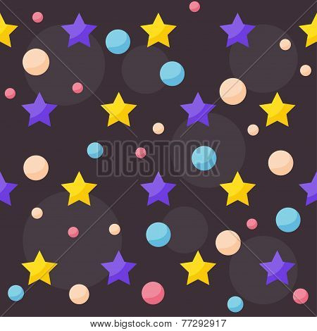Vector Cosmic Seamless Pattern Background With Funny Drawing Bright Planets And Stars In Open Space