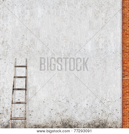 weathered brick wall with a wooden ladder