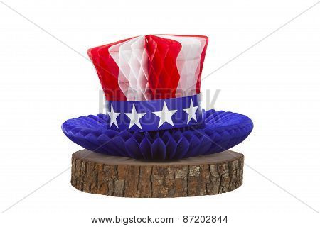 An Uncle Sam hat against a white background poster