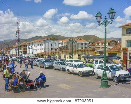 Traffic In A Street Of Cusco In Peru