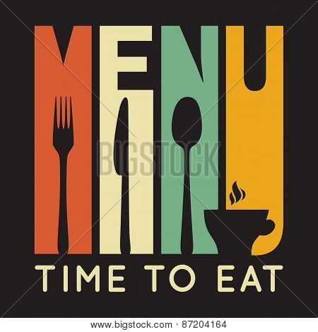Retro restaurant menu card. Vector illustration for stylish design