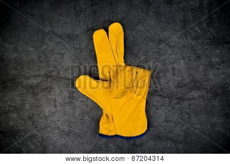 Leather Construction Work Gloves Making Three Fingers Gest
