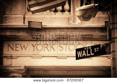 NEW YORK CITY - SEP 5: New York Stock Exchange closeup on September 5, 2014 in Manhattan, New York City. It is the world's largest stock exchange by market capitalization of its listed companies.