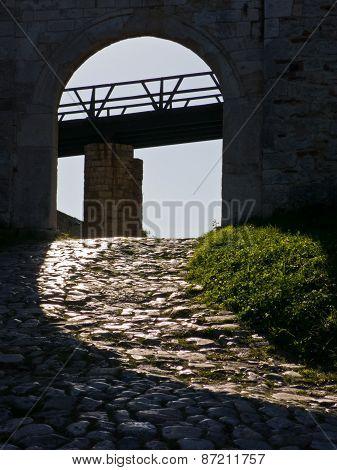Wooden bridge at the entrance of Kalemegdan fortress in Belgrade