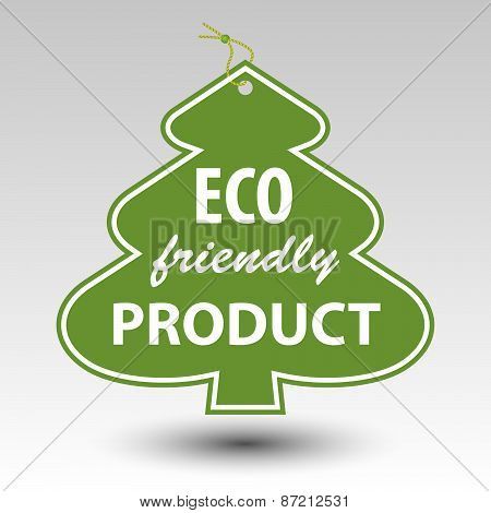 green eco friendly producttree tag label with string eyelet poster