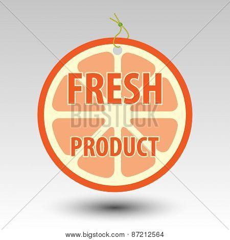 circle fresh fruit product orange tag label with string eyelet poster
