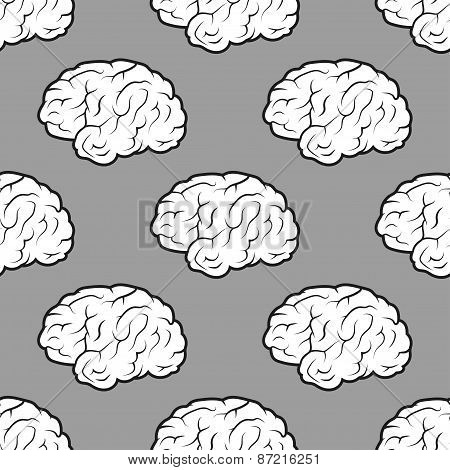 Seamless Brains on the grey background