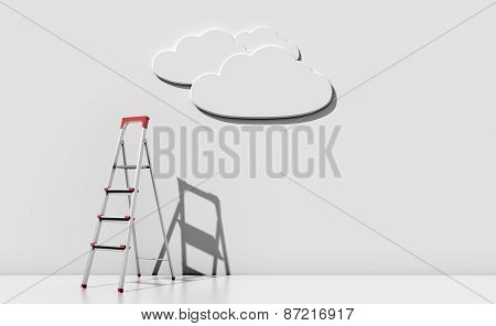 Step-ladder Against A Wall With A Cloud