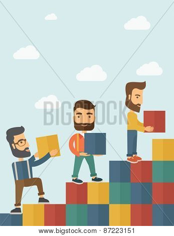 Three hipster Caucasian men with beard carrying blocks putting one by one going up as a sign of increasing sales. Team building concept.  A contemporary style with pastel palette soft blue tinted poster