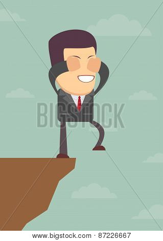 Businessman walks off a cliff. Vector illustration