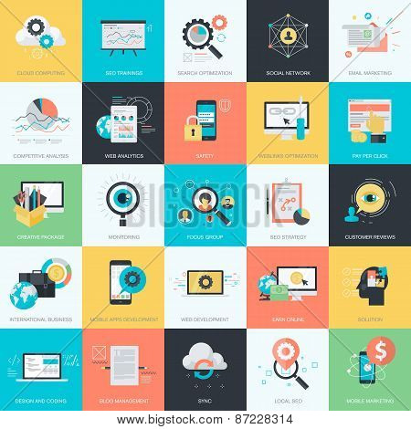 Set of flat design style concept icons for website development