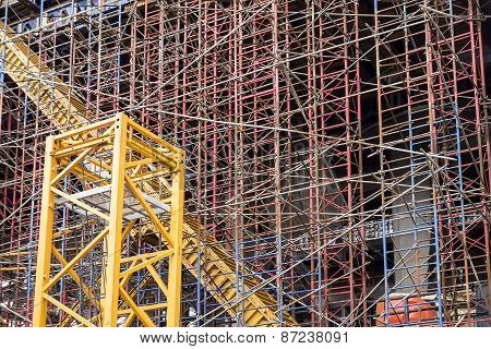 Scaffold Structure At Construction Site