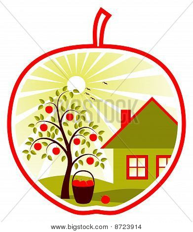 Fruit Tree And Cottage In Fruit