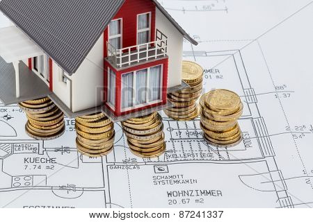 house building plan, symbolic photo for house construction, financing, building society