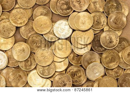 Indian 5 rupees coin background
