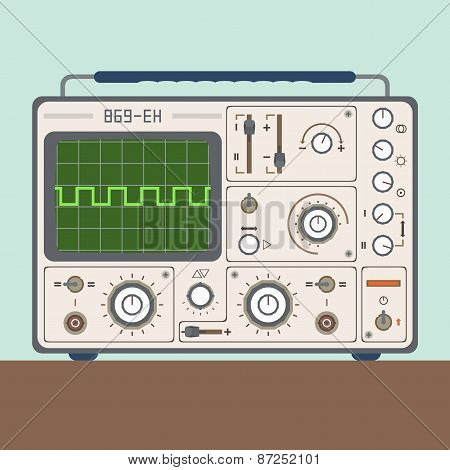 Vector Illustration Of One Oscilloscope