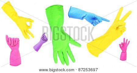 Colorful gloves gesturing numbers isolated on white