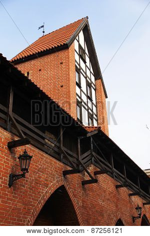 Red Brick Wall And Tower In Old Riga