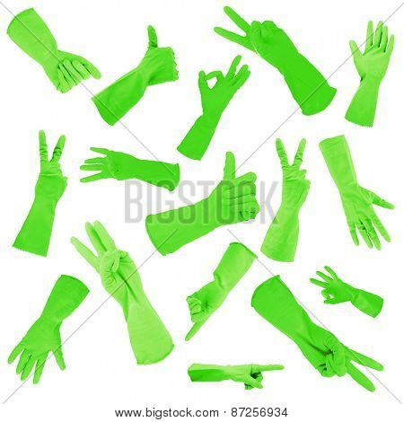 Green gloves gesturing numbers isolated on white
