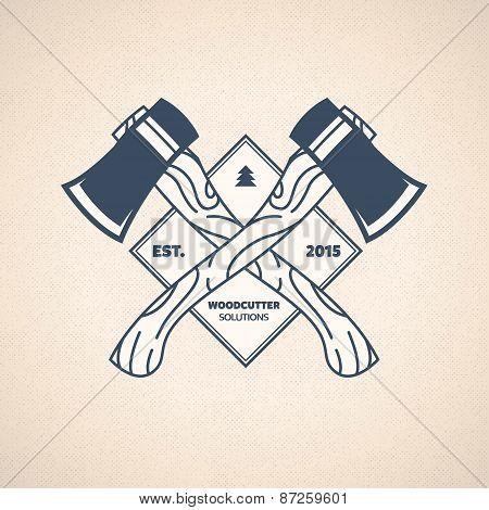 Vintage Lumberjack Label. Vector Woodcutter Emblem