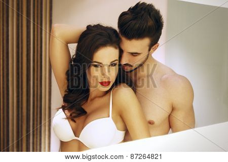 Sexy Passionate Couple In Mirror