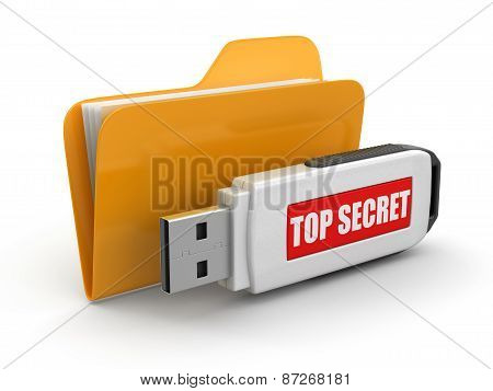 Folder and USB flash Top Secret (clipping path included)