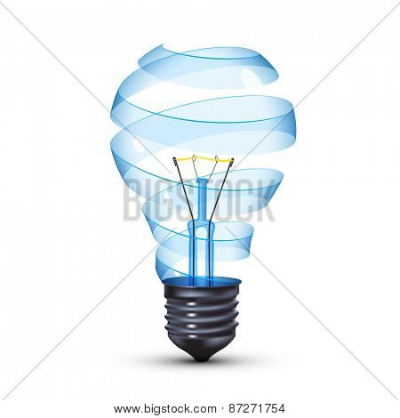 surreal spiral glass tungsten light bulb