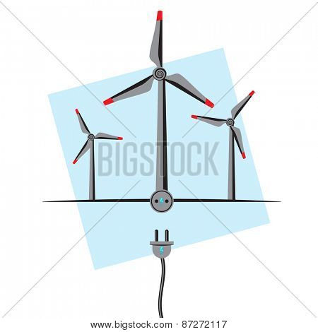 Wind Turbines with plugin socket and wire. Wind Energy concept