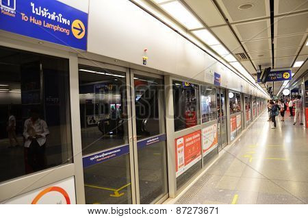 Metropolitan Rapid Transit (mrt) Subway Train Station In Bangkok. Thailand