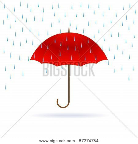 Red Umbrella And Rain.