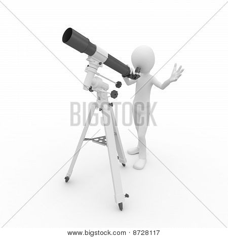 3D Man With Telescope