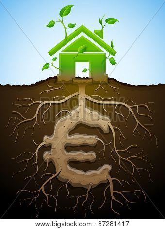 Home and money symbol in shape of plant parts. Qualitative vector illustration for mortgage green building real estate investment construction sustainability etc. It has transparency blending modes masks gradients poster