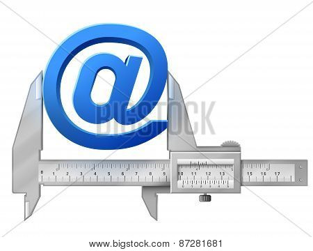 Horizontal Caliper Measures Mail Symbol