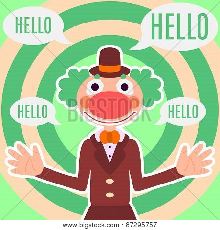 Background with happy greeting clown in costume, text space and speech bubble