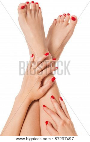 Woman With Beautiful Red Finger And Toenails