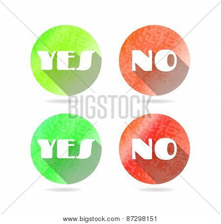 Set, collection, group of four round, isolated, modern, red, green icons, buttons with text Yes, No,