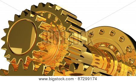 Golden Gears With Reflections