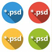 Set of 4 isolated flat colorful buttons (icons) for psd extension poster