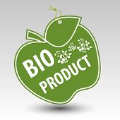green bio product apple tag label with string eyelet with silhouette of plant poster