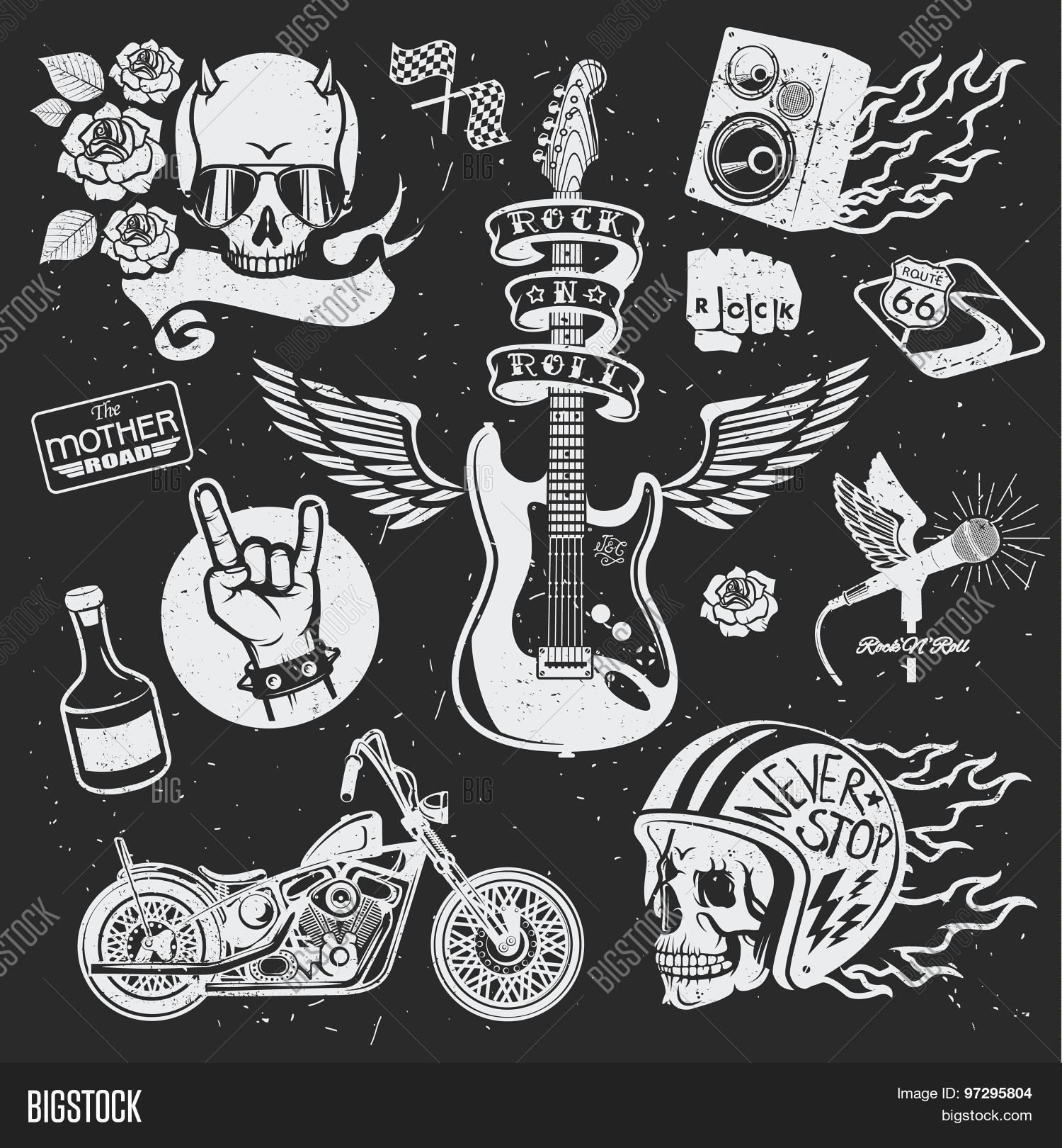 65f9a3a90 Rock themed badges. Vector set. Set of vector symbols related to rock and  roll.