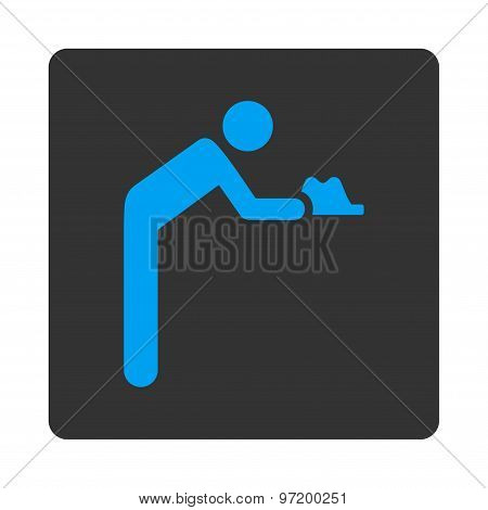 Servant icon. Glyph style is blue and gray colors, flat rounded square button on a white background. poster