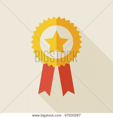 Flat Award Gold Medal Illustration With Long Shadow