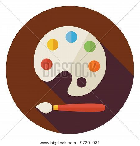 Flat Colorful Palette With Paintbrush Circle Icon With Long Shadow