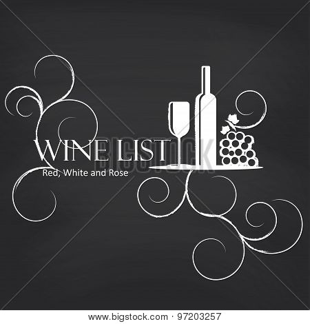 Wine list on blackboard background.