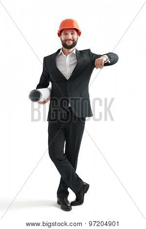 businessman in formal wear and orange helmet raised hand like if leaned his elbows on a banner. isolated on white background