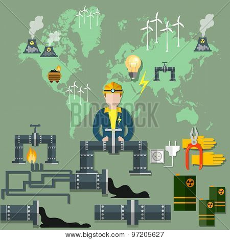 World energy: nuclear energy wind energypipeline windmill mining fuel nuclear waste ecology oil gas coal electricity nuclear power plants vector illustration poster