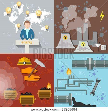 Energy Concept,  Ecology, Pollution, Petroleum Coal Nuclear Power Nuclear Energy, vector set icons
