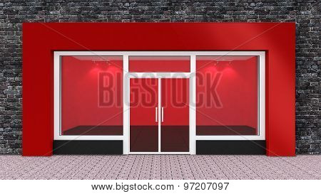 Empty Red Store Front With Big Windows