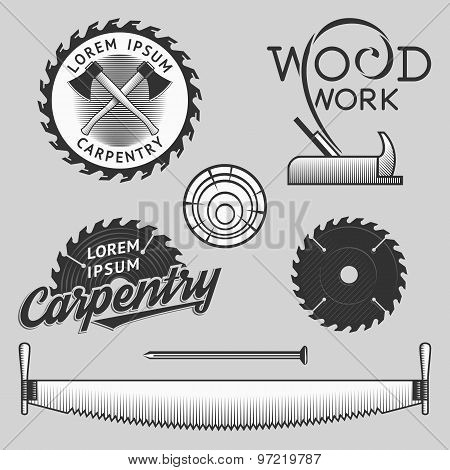 Vintage set of carpentry logos, labels and design elements. Stock vector.