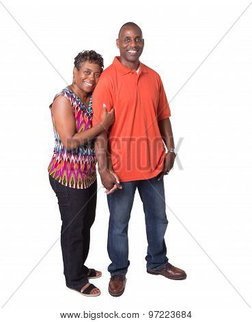Full length portrait of an older couple standing close,isolated